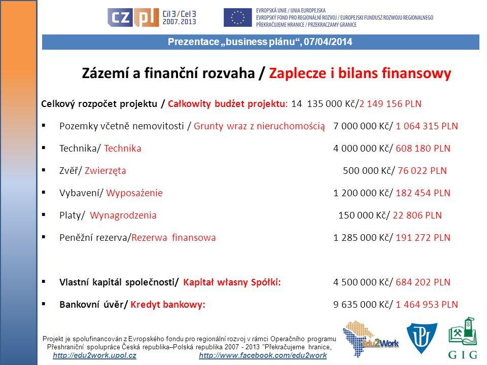 Zázemí a finanční rozvaha / Zaplecze i bilans finansowy Celkový rozpočet projektu / Całkowity budżet projektu: 14 135 000 Kč/2 149 156 PLN  Pozemky v