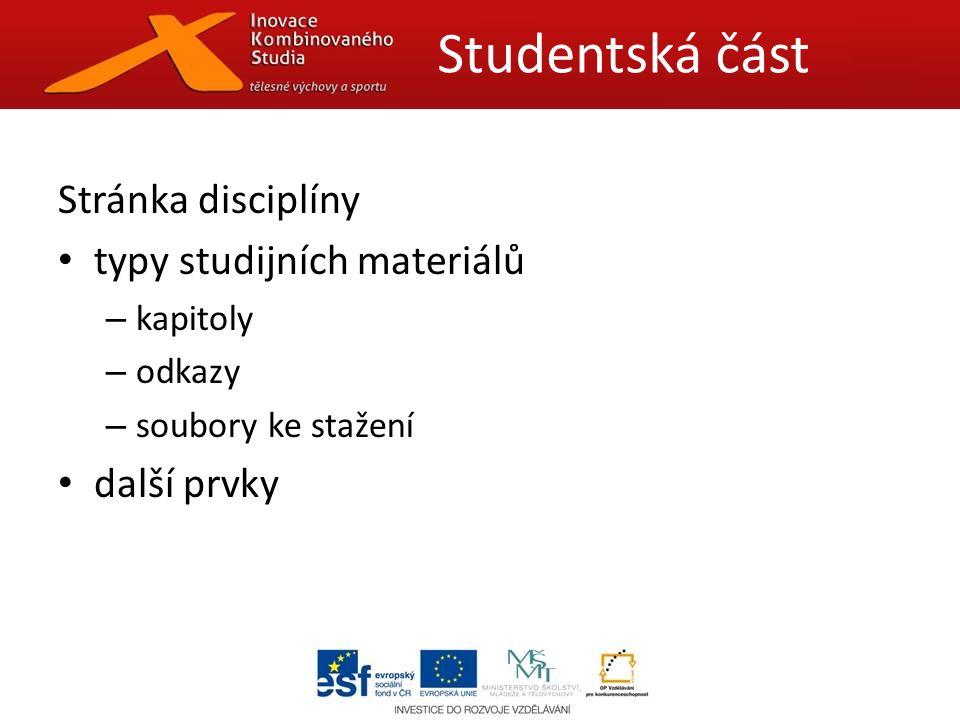 Stránka disciplíny typy studijních materiálů – kapitoly – odkazy – soubory ke stažení další prvky Studentská část