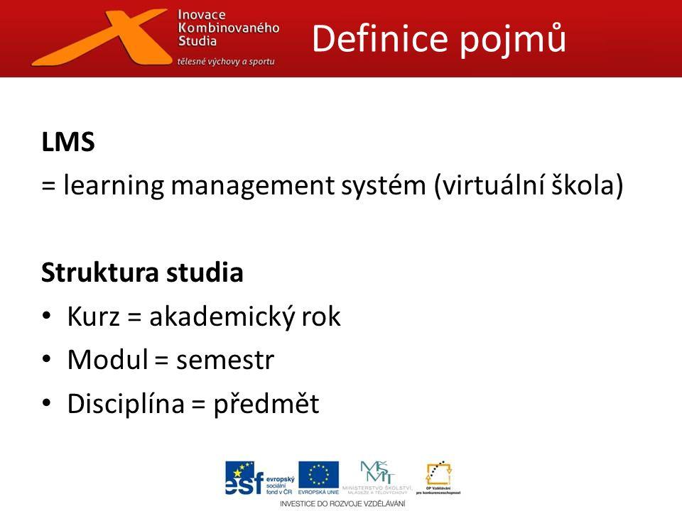 LMS = learning management systém (virtuální škola) Struktura studia Kurz = akademický rok Modul = semestr Disciplína = předmět Definice pojmů