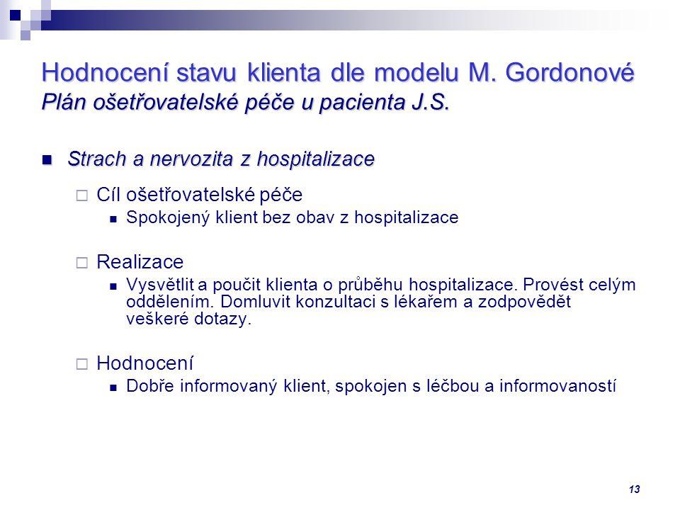 13 Hodnocení stavu klienta dle modelu M.Gordonové Plán ošetřovatelské péče u pacienta J.S.