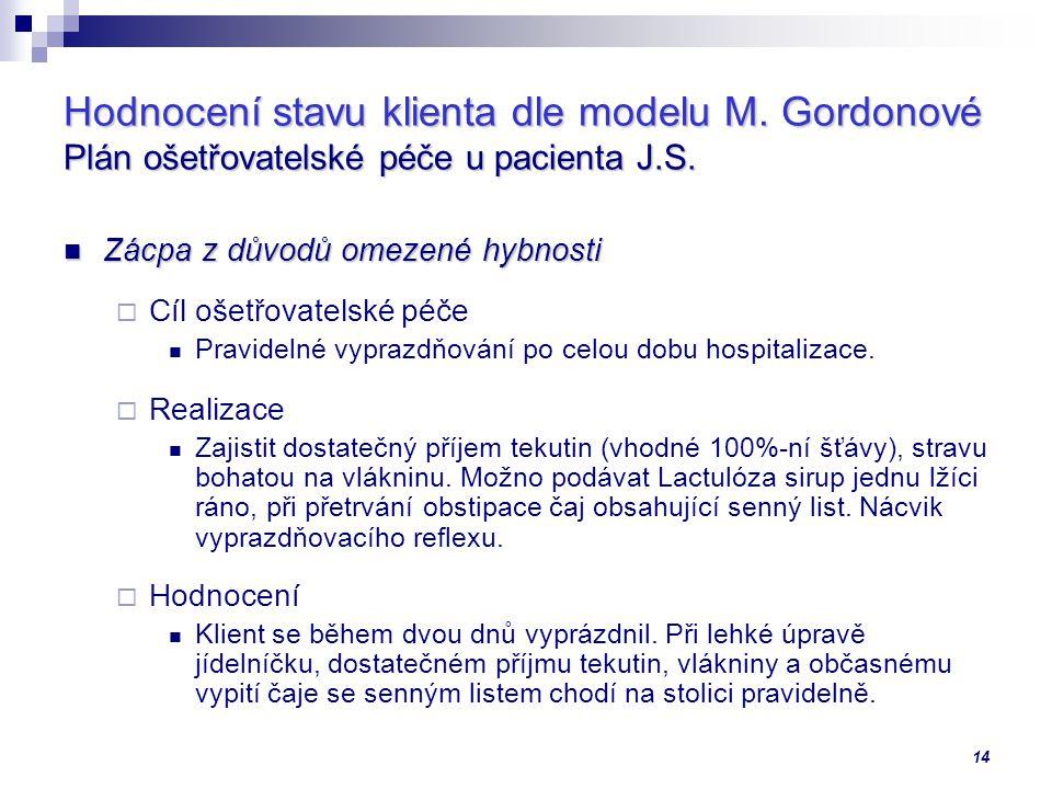 14 Hodnocení stavu klienta dle modelu M.Gordonové Plán ošetřovatelské péče u pacienta J.S.