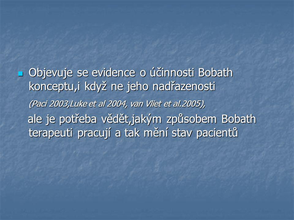 Objevuje se evidence o účinnosti Bobath konceptu,i když ne jeho nadřazenosti Objevuje se evidence o účinnosti Bobath konceptu,i když ne jeho nadřazenosti (Paci 2003,Luke et al 2004, van Vliet et al.2005), (Paci 2003,Luke et al 2004, van Vliet et al.2005), ale je potřeba vědět,jakým způsobem Bobath terapeuti pracují a tak mění stav pacientů ale je potřeba vědět,jakým způsobem Bobath terapeuti pracují a tak mění stav pacientů