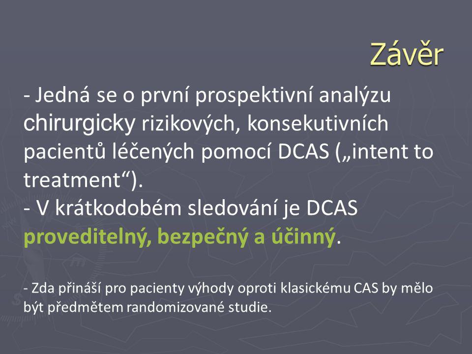 """- Jedná se o první prospektivní analýzu chirurgicky rizikových, konsekutivních pacientů léčených pomocí DCAS (""""intent to treatment""""). - V krátkodobém"""