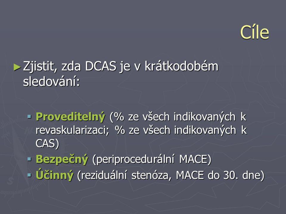 ► Zjistit, zda DCAS je v krátkodobém sledování:  Proveditelný (% ze všech indikovaných k revaskularizaci; % ze všech indikovaných k CAS)  Bezpečný (