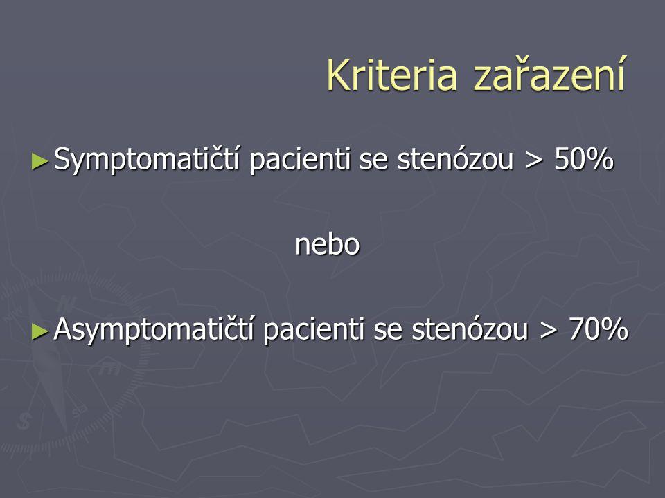 ► Symptomatičtí pacienti se stenózou > 50% nebo ► Asymptomatičtí pacienti se stenózou > 70%
