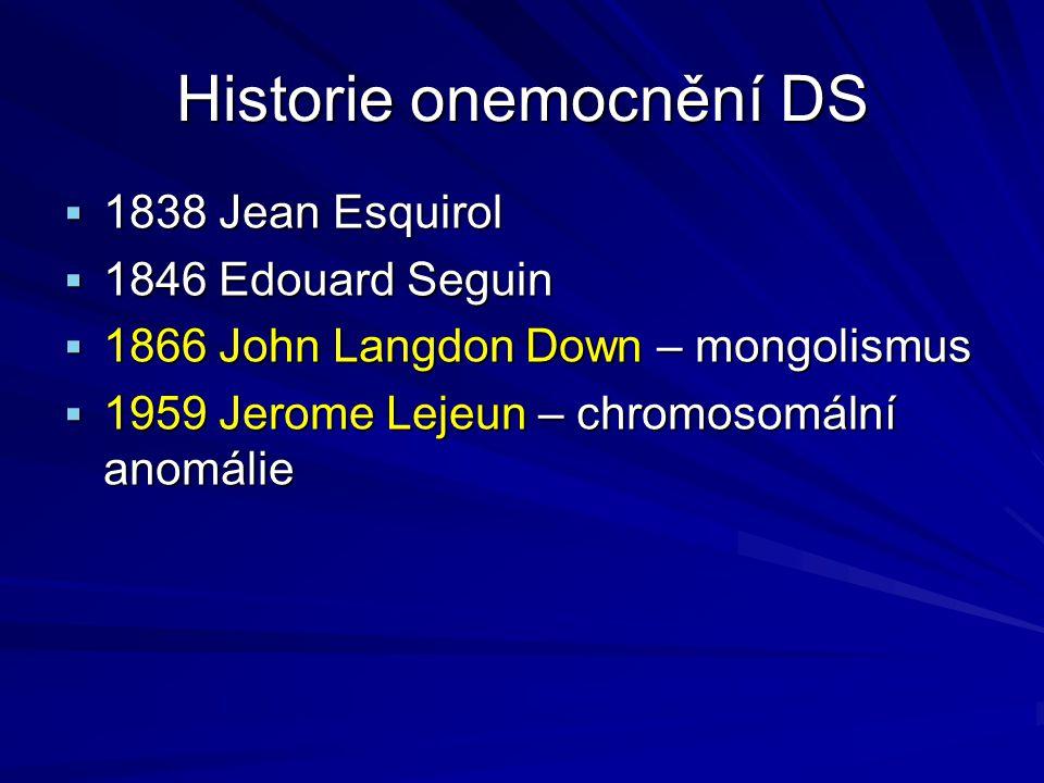 Historie onemocnění DS  1838 Jean Esquirol  1846 Edouard Seguin  1866 John Langdon Down – mongolismus  1959 Jerome Lejeun – chromosomální anomálie