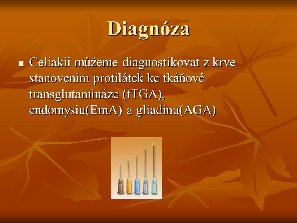 Diagnóza Celiakii můžeme diagnostikovat z krve stanovením protilátek ke tkáňové transglutamináze (tTGA), endomysiu(EmA) a gliadinu(AGA) Celiakii můžem