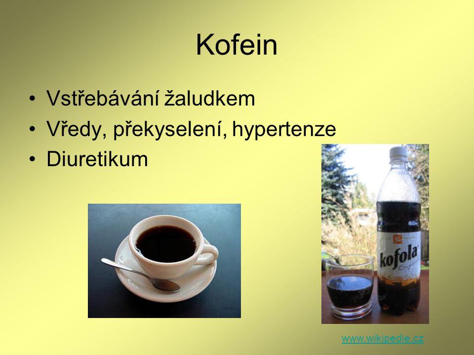 Kofein Vstřebávání žaludkem Vředy, překyselení, hypertenze Diuretikum www.wikipedie.cz