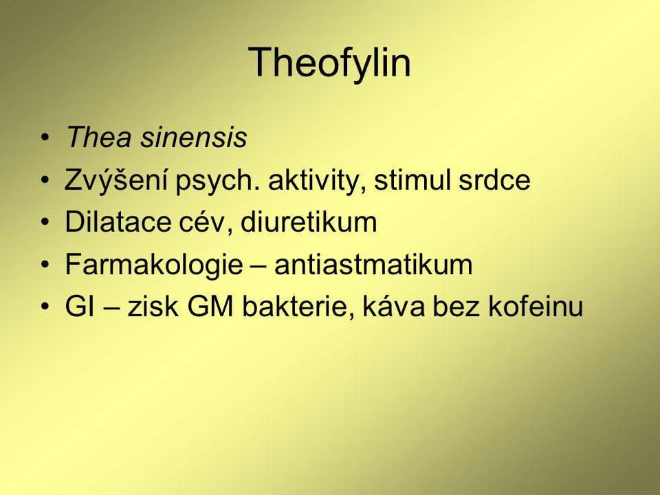 Theofylin Thea sinensis Zvýšení psych. aktivity, stimul srdce Dilatace cév, diuretikum Farmakologie – antiastmatikum GI – zisk GM bakterie, káva bez k