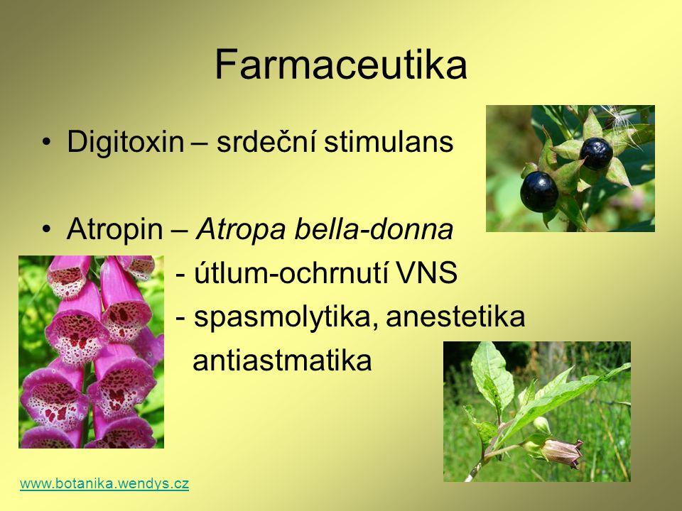 Farmaceutika Digitoxin – srdeční stimulans Atropin – Atropa bella-donna - útlum-ochrnutí VNS - spasmolytika, anestetika antiastmatika www.botanika.wen