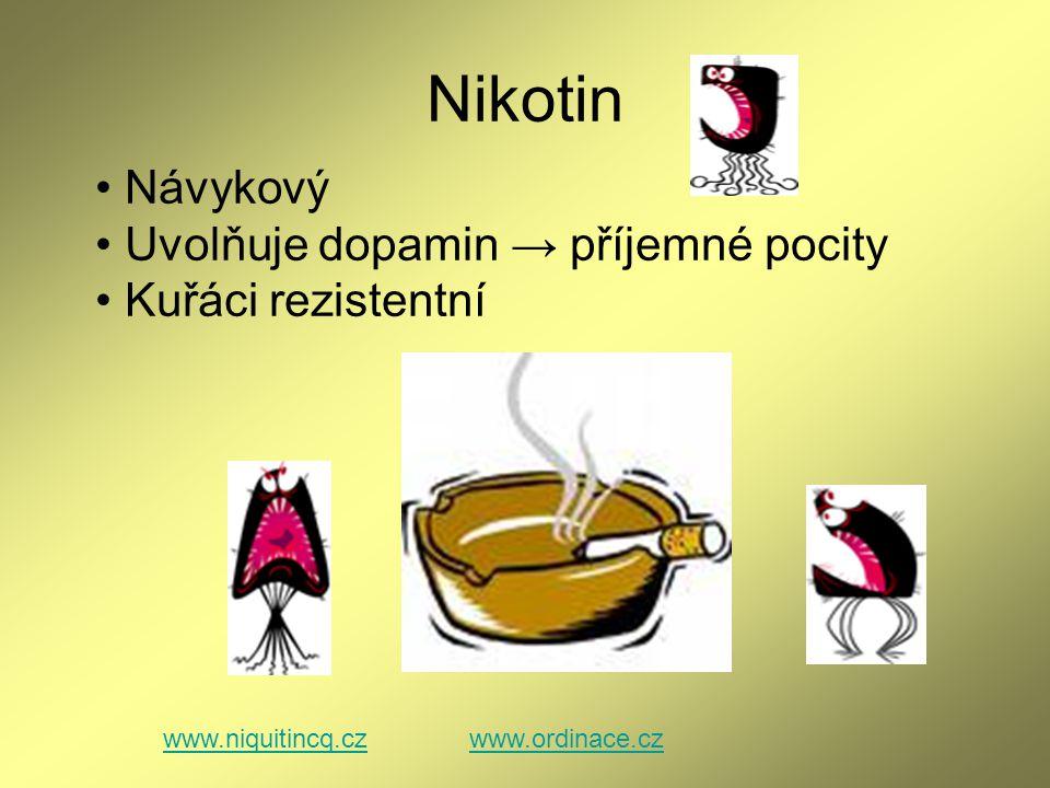 Nikotin www.niquitincq.czwww.ordinace.cz Návykový Uvolňuje dopamin → příjemné pocity Kuřáci rezistentní
