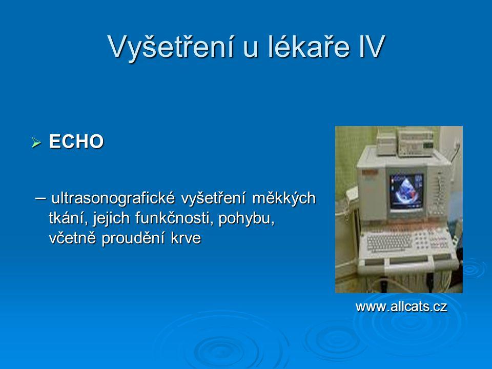 Vyšetření u lékaře IV  ECHO – ultrasonografické vyšetření měkkých tkání, jejich funkčnosti, pohybu, včetně proudění krve – ultrasonografické vyšetřen