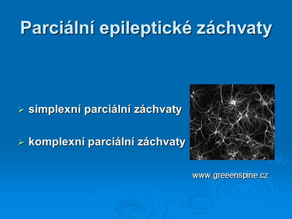 Generalizované epileptické záchvaty primární tonicko - klonické záchvaty primární tonicko - klonické záchvaty sekundární tonicko - klonické záchvaty sekundární tonicko - klonické záchvaty tonické záchvaty tonické záchvaty atonické záchvaty atonické záchvaty myoklonické záchvaty myoklonické záchvaty absence (,, zahledění se,,) absence (,, zahledění se,,)