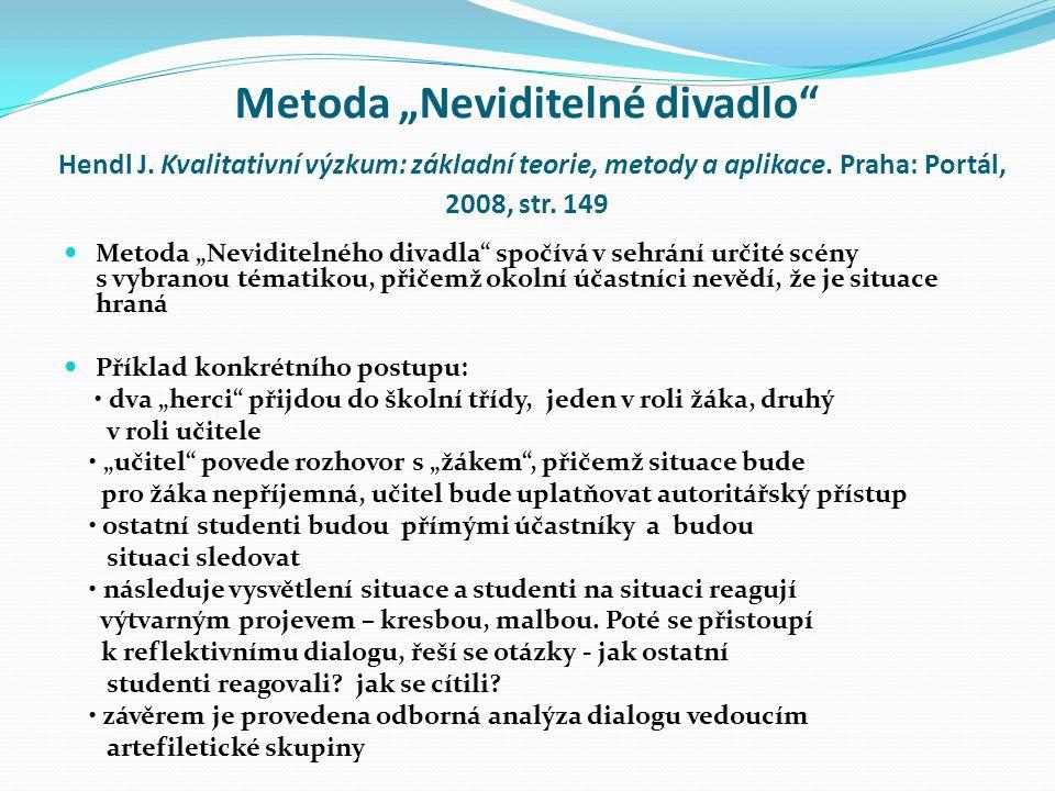 """Metoda """"Neviditelné divadlo Hendl J.Kvalitativní výzkum: základní teorie, metody a aplikace."""