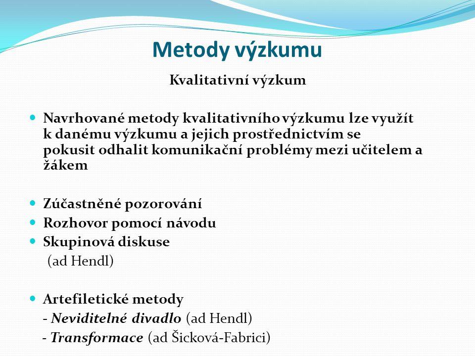 Metody výzkumu Kvalitativní výzkum Navrhované metody kvalitativního výzkumu lze využít k danému výzkumu a jejich prostřednictvím se pokusit odhalit komunikační problémy mezi učitelem a žákem Zúčastněné pozorování Rozhovor pomocí návodu Skupinová diskuse (ad Hendl) Artefiletické metody - Neviditelné divadlo (ad Hendl) - Transformace (ad Šicková-Fabrici)
