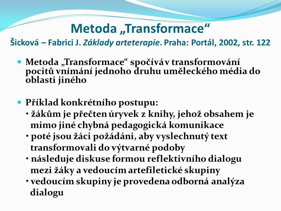 """Metoda """"Transformace Šicková – Fabrici J.Základy arteterapie."""