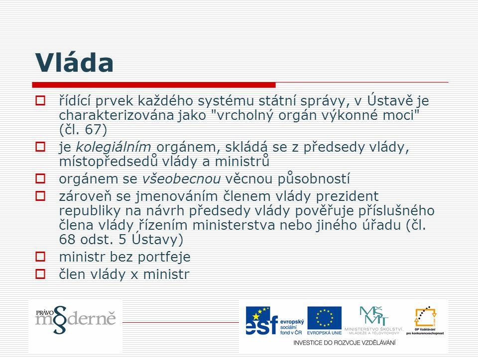 Vláda  řídící prvek každého systému státní správy, v Ústavě je charakterizována jako vrcholný orgán výkonné moci (čl.