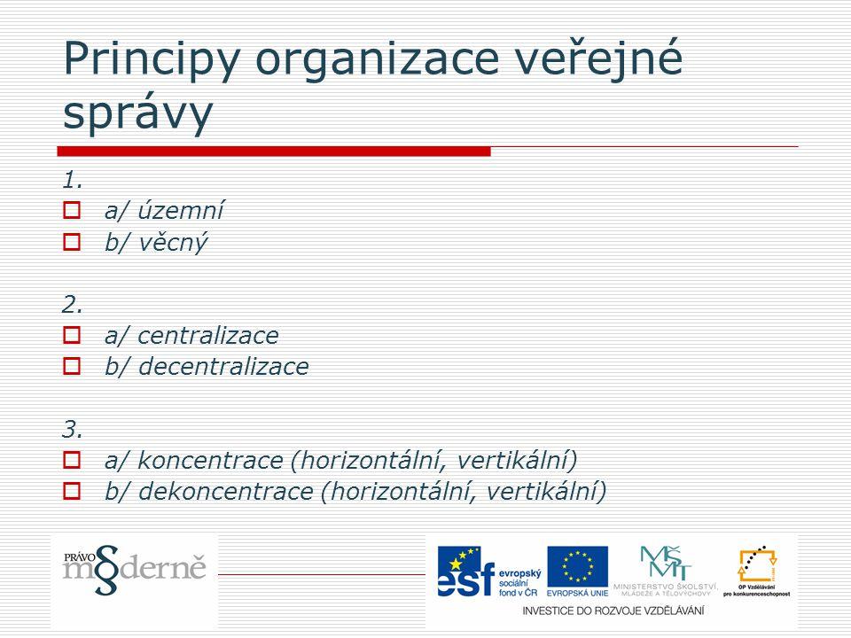 Principy organizace veřejné správy 1.  a/ územní  b/ věcný 2.