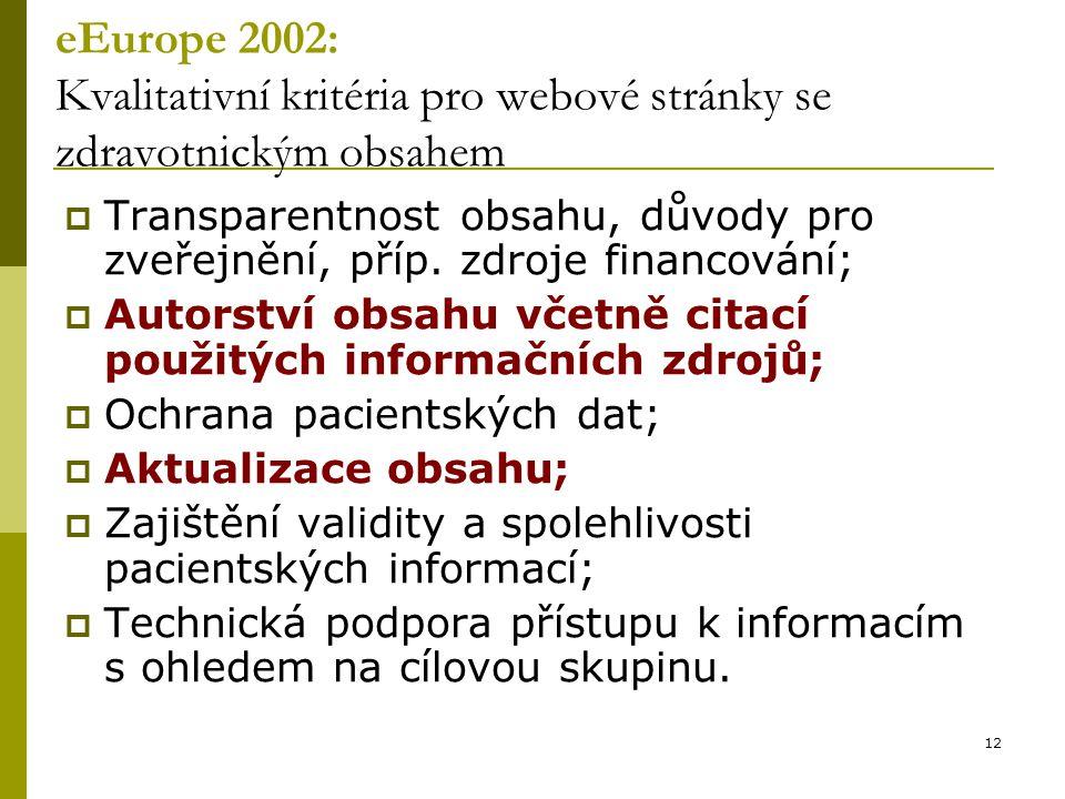 12 eEurope 2002: Kvalitativní kritéria pro webové stránky se zdravotnickým obsahem  Transparentnost obsahu, důvody pro zveřejnění, příp.