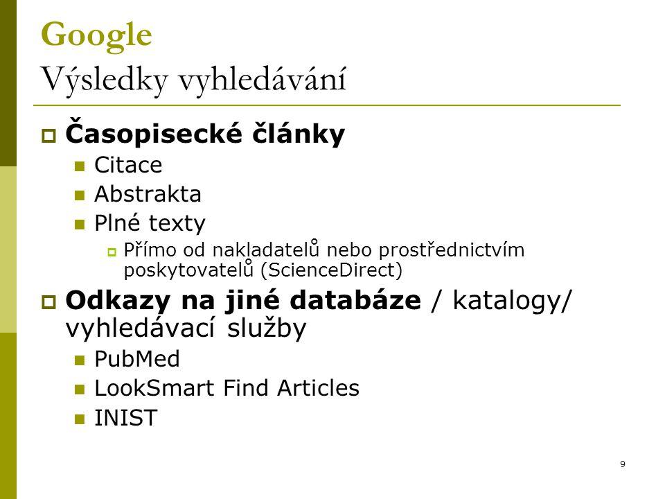 9 Google Výsledky vyhledávání  Časopisecké články Citace Abstrakta Plné texty  Přímo od nakladatelů nebo prostřednictvím poskytovatelů (ScienceDirect)  Odkazy na jiné databáze / katalogy/ vyhledávací služby PubMed LookSmart Find Articles INIST