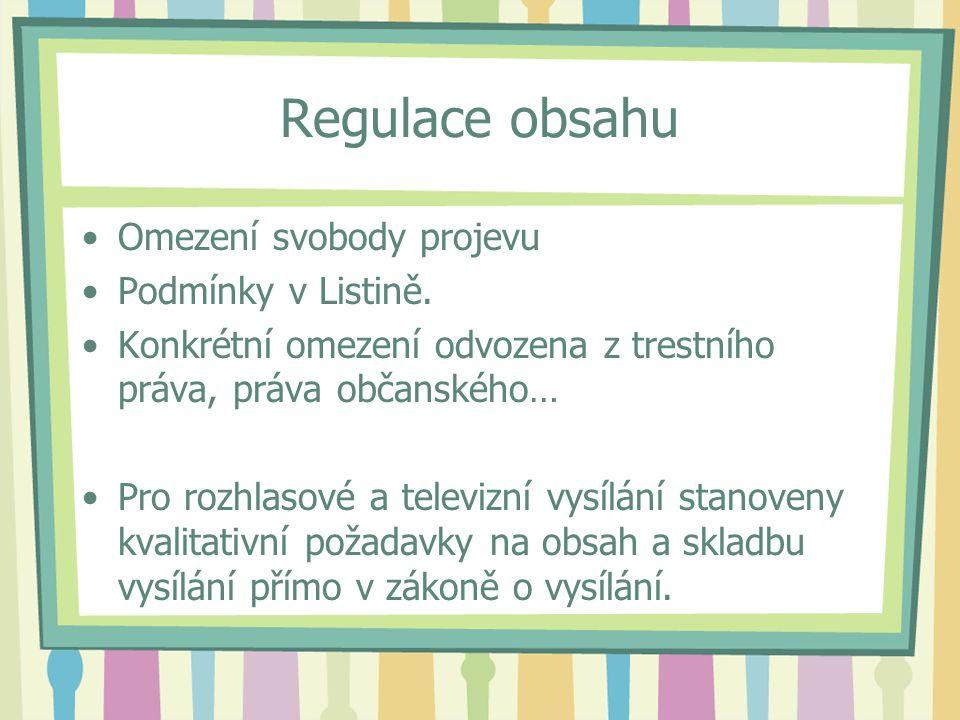 Regulace obsahu Omezení svobody projevu Podmínky v Listině.