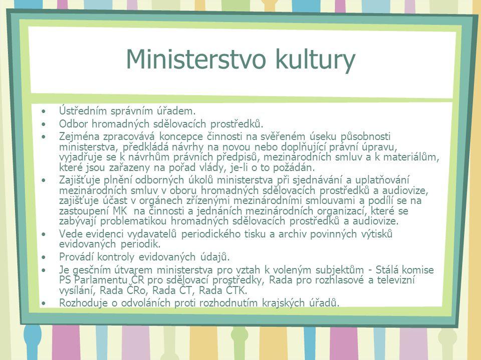 Ministerstvo kultury Ústředním správním úřadem. Odbor hromadných sdělovacích prostředků.