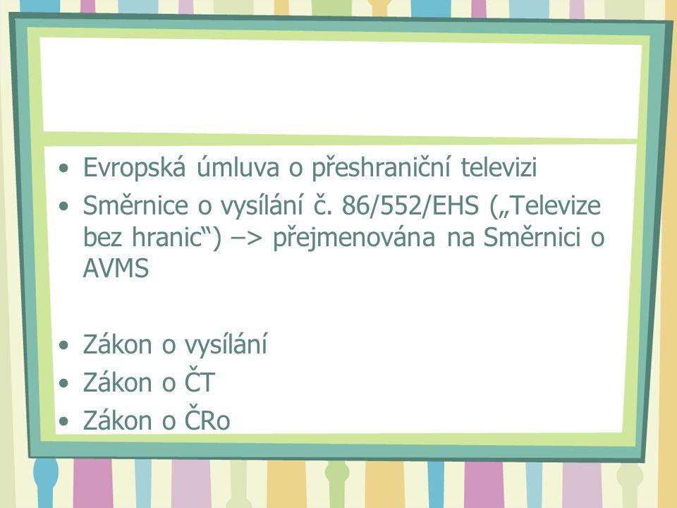 Evropská úmluva o přeshraniční televizi Směrnice o vysílání č.