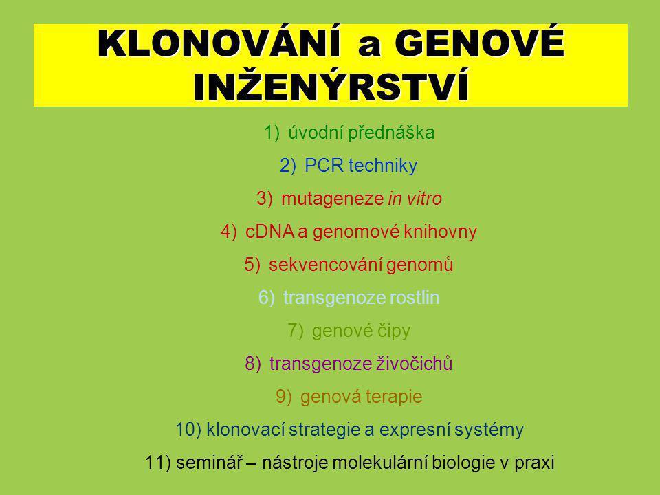 Obecný princip molekulárního klonování klonovací vector + DNA obsahující požadovaný gen (izolace) restrikceligacetransformace selekce pomocí selekčních markerů reprodukce a syntéza cílového proteinu izolace