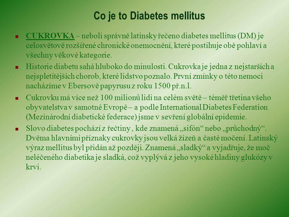 Co je to Diabetes mellitus CUKROVKA – neboli správně latinsky řečeno diabetes mellitus (DM) je celosvětově rozšířené chronické onemocnění, které postihuje obě pohlaví a všechny věkové kategorie.