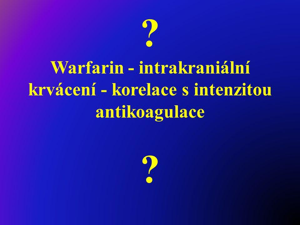 ? Warfarin - intrakraniální krvácení - korelace s intenzitou antikoagulace ?