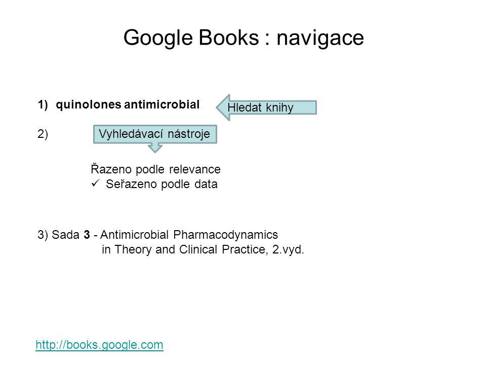 Google Books : navigace http://books.google.com 1)quinolones antimicrobial 2) Hledat knihy Vyhledávací nástroje Řazeno podle relevance Seřazeno podle