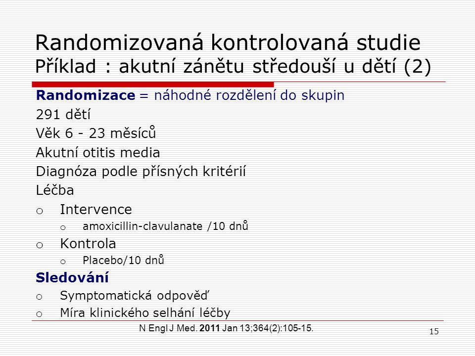 Randomizovaná kontrolovaná studie Příklad : akutní zánět středouší u dětí (1) Treatment of acute otitis media in children under 2 years of age. Hoberm