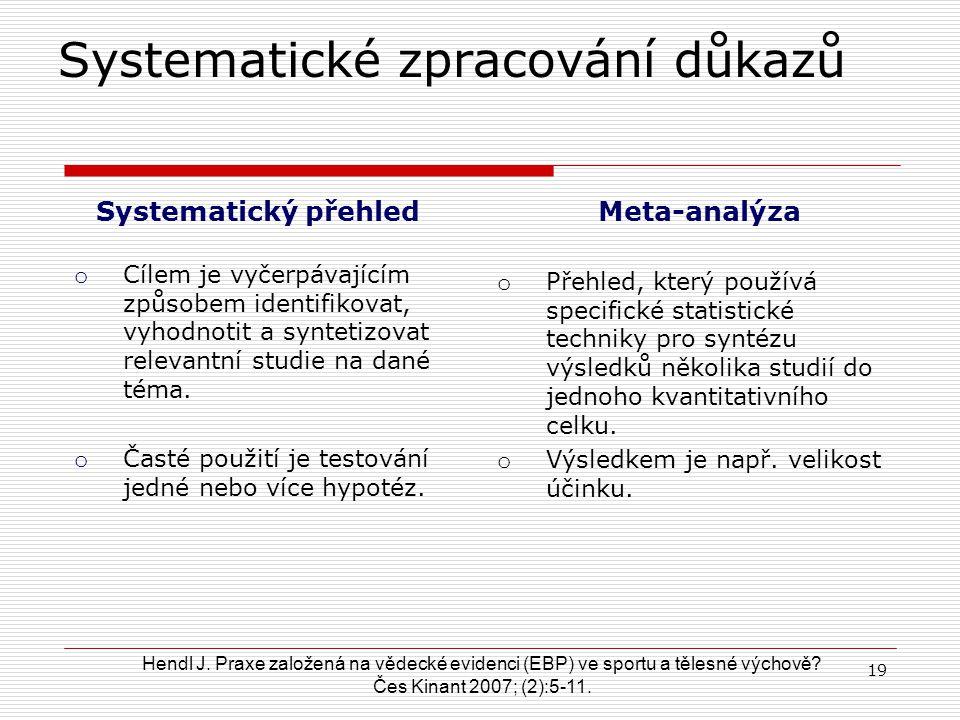 Gordon H. Guyatt (2) Vývoj názorů : základní principy 18 o Systematické zpracování důkazů (systematické přehledy, meta-analýzy) o Hierarchie důkazů o