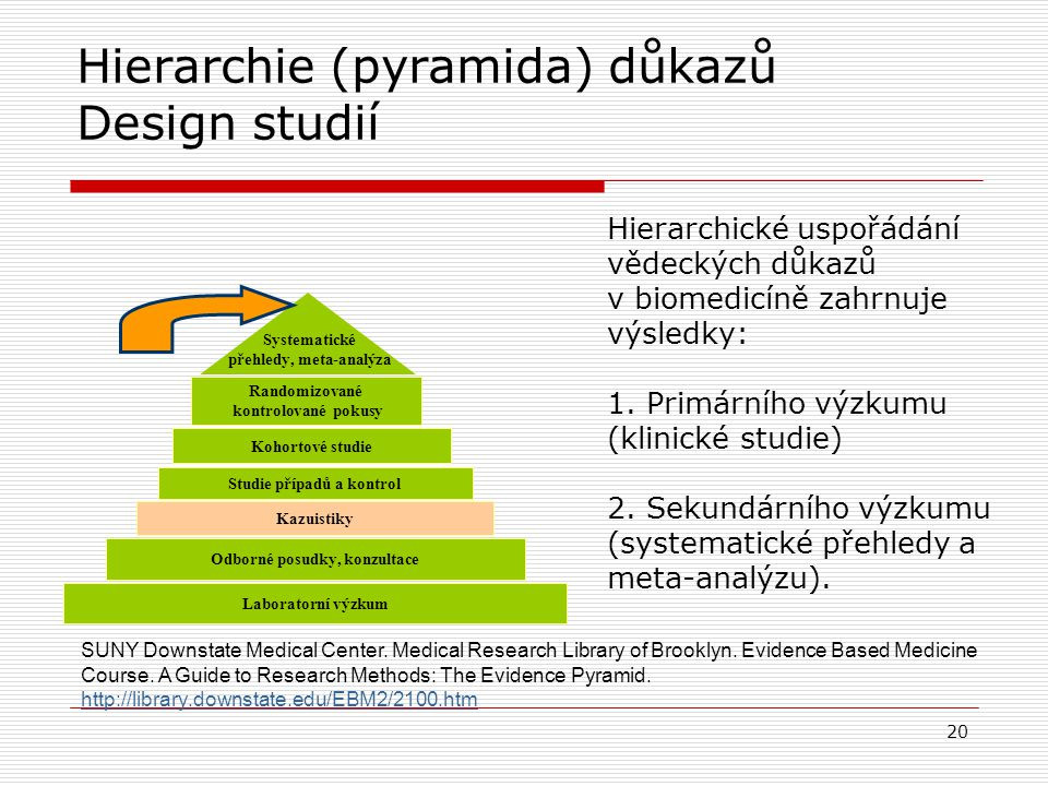 Systematické zpracování důkazů Systematický přehled o Cílem je vyčerpávajícím způsobem identifikovat, vyhodnotit a syntetizovat relevantní studie na d