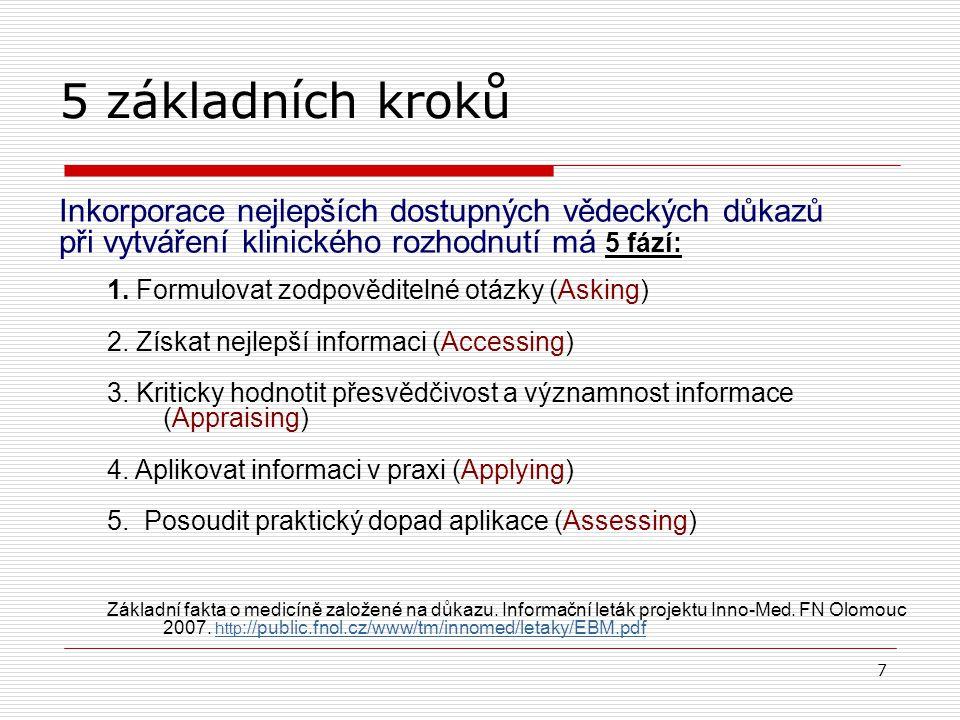 6 BMJ Learning: EBM Users´Guide 2008; http://learning.bmj.comhttp://learning.bmj.com Evidence based practice (EBP) Praxe založená na důkazu