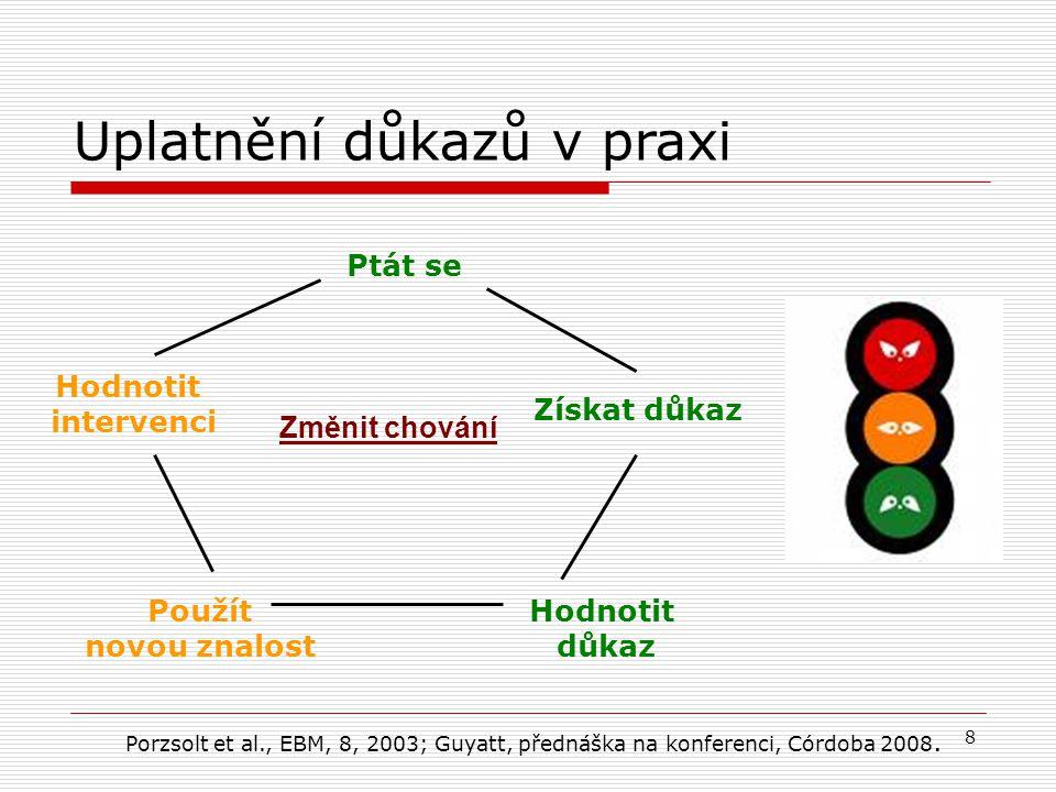 8 Ptát se Získat důkaz Hodnotit důkaz Použít novou znalost Hodnotit intervenci Uplatnění důkazů v praxi Změnit chování Porzsolt et al., EBM, 8, 2003; Guyatt, přednáška na konferenci, Córdoba 2008.