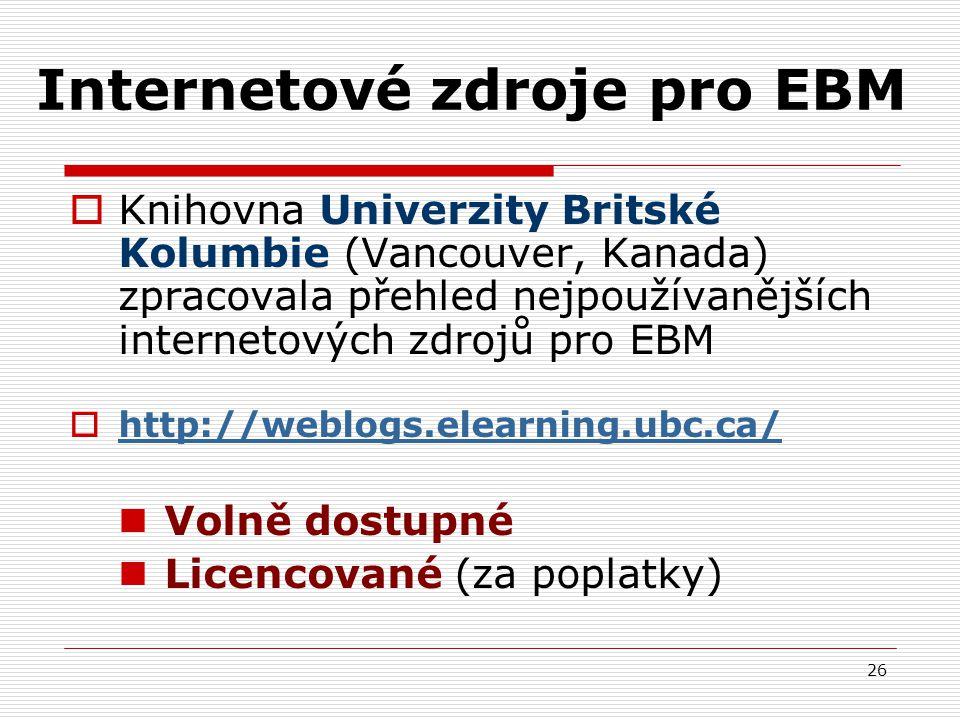 26 Internetové zdroje pro EBM  Knihovna Univerzity Britské Kolumbie (Vancouver, Kanada) zpracovala přehled nejpoužívanějších internetových zdrojů pro