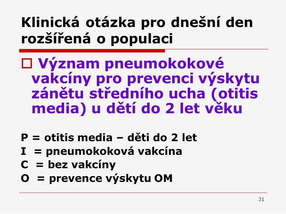 31 Klinická otázka pro dnešní den rozšířená o populaci  Význam pneumokokové vakcíny pro prevenci výskytu zánětu středního ucha (otitis media) u dětí