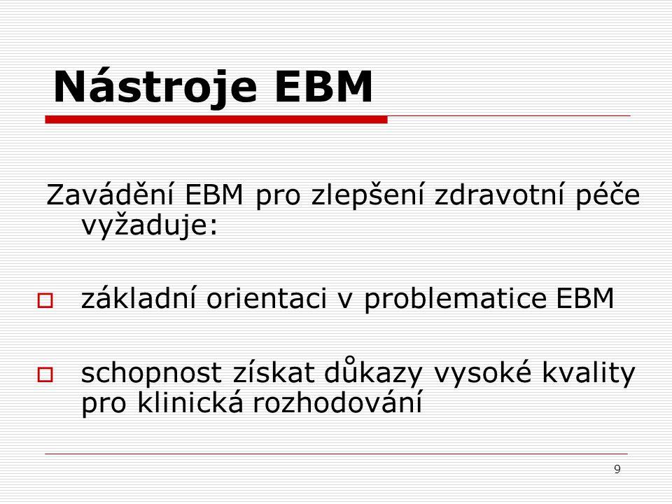 9 Nástroje EBM Zavádění EBM pro zlepšení zdravotní péče vyžaduje:  základní orientaci v problematice EBM  schopnost získat důkazy vysoké kvality pro
