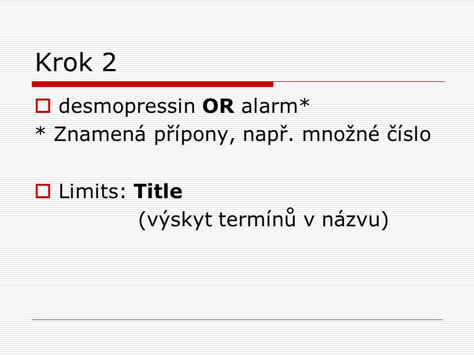 Krok 2  desmopressin OR alarm* * Znamená přípony, např. množné číslo  Limits: Title (výskyt termínů v názvu)