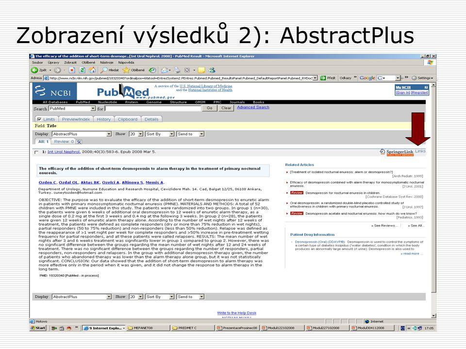 Zobrazení výsledků 2): AbstractPlus