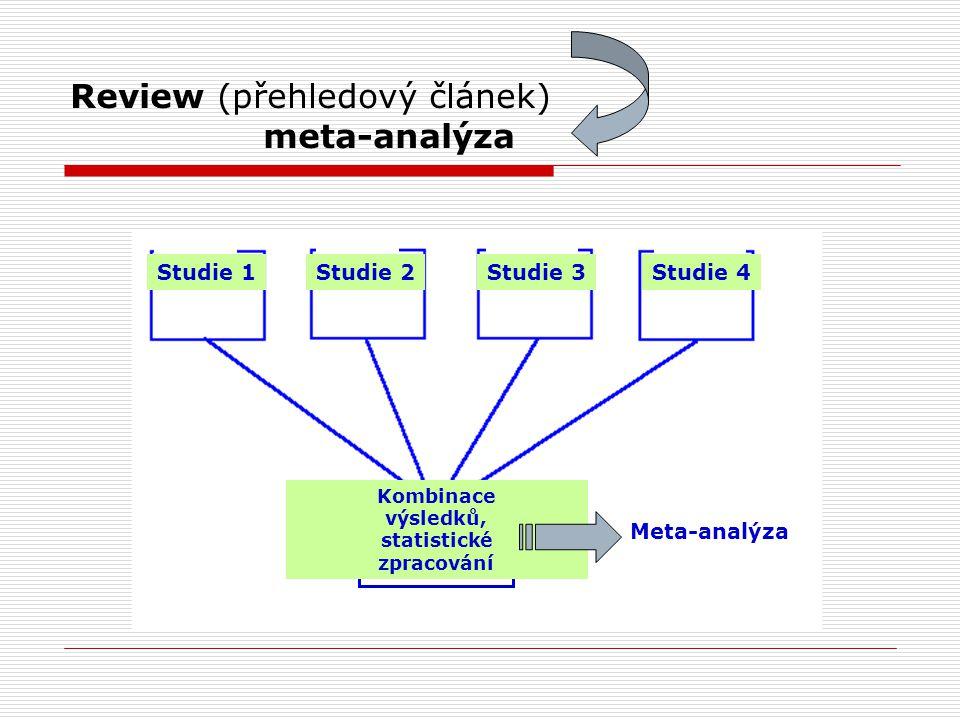 Review (přehledový článek) meta-analýza Studie 1Studie 2Studie 3Studie 4 Kombinace výsledků, statistické zpracování Meta-analýza