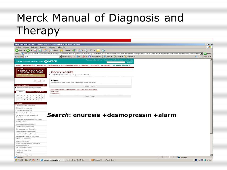 INTERNET Vyhledávací služby  Google (2) http://www.google.com Rozšířené vyhledávání (2) Jazyk: kterýkoliv / Výskyt: v názvu stránky Terminologie: enuresis; bedwetting desmopressin; alarm