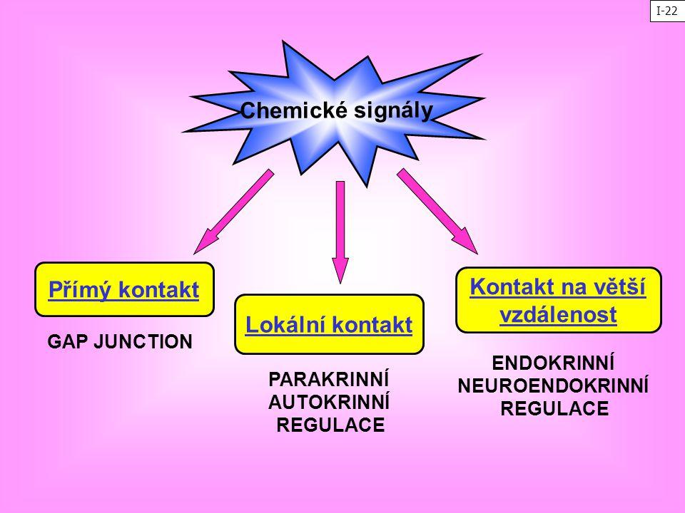Chemické signály Přímý kontakt Lokální kontakt Kontakt na větší vzdálenost GAP JUNCTION PARAKRINNÍ AUTOKRINNÍ REGULACE ENDOKRINNÍ NEUROENDOKRINNÍ REGU