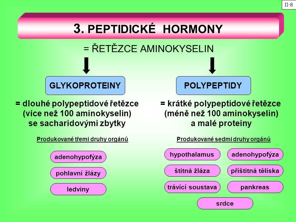 3. PEPTIDICKÉ HORMONY = ŘETĚZCE AMINOKYSELIN GLYKOPROTEINYPOLYPEPTIDY = dlouhé polypeptidové řetězce (více než 100 aminokyselin) se sacharidovými zbyt
