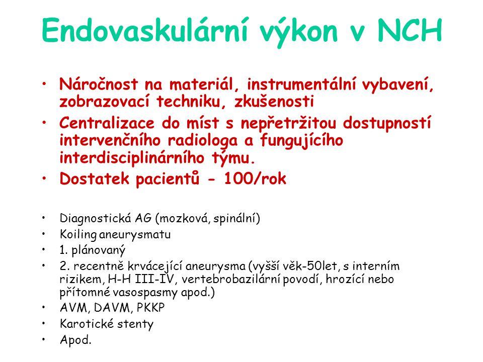 Endovaskulární výkon v NCH Náročnost na materiál, instrumentální vybavení, zobrazovací techniku, zkušenosti Centralizace do míst s nepřetržitou dostup
