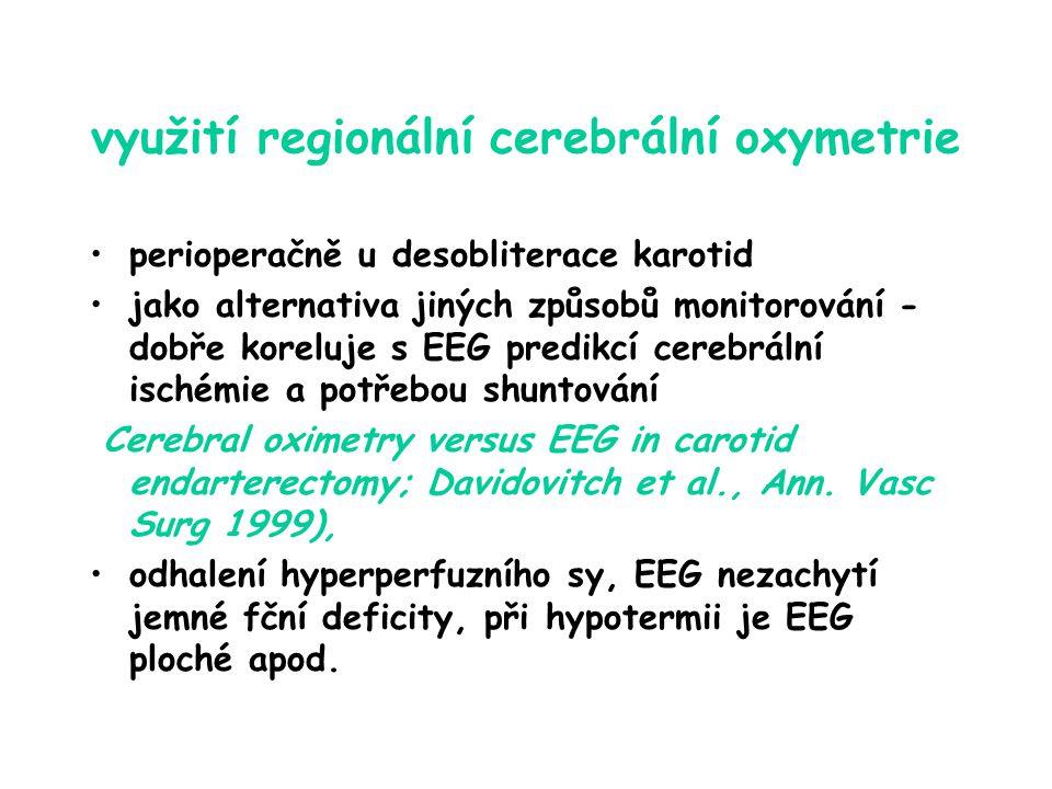 využití regionální cerebrální oxymetrie perioperačně u desobliterace karotid jako alternativa jiných způsobů monitorování - dobře koreluje s EEG predikcí cerebrální ischémie a potřebou shuntování (Cerebral oximetry versus EEG in carotid endarterectomy; Davidovitch et al., Ann.