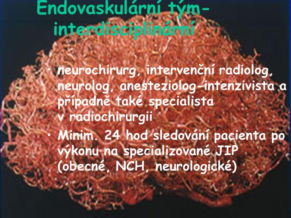 Endovaskulární tým- interdisciplinární neurochirurg, intervenční radiolog, neurolog, anesteziolog-intenzivista a případně také specialista v radiochirurgii Minim.