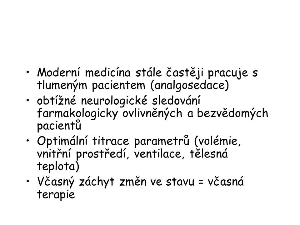 Moderní medicína stále častěji pracuje s tlumeným pacientem (analgosedace) obtížné neurologické sledování farmakologicky ovlivněných a bezvědomých pacientů Optimální titrace parametrů (volémie, vnitřní prostředí, ventilace, tělesná teplota) Včasný záchyt změn ve stavu = včasná terapie