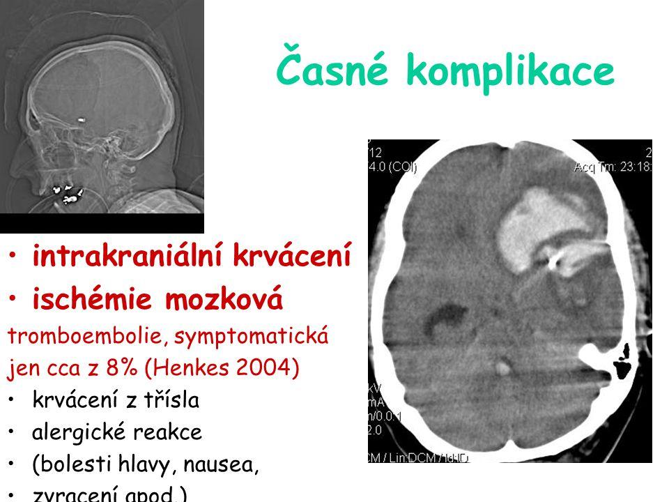 Časné komplikace intrakraniální krvácení ischémie mozková tromboembolie, symptomatická jen cca z 8% (Henkes 2004) krvácení z třísla alergické reakce (